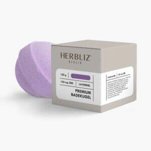 Lavendel Premium Badekugel von Herbliz mit 150 mg CBD